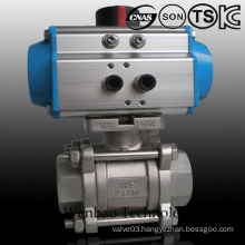 3PC Female Threaded Floating Ball Valve with Pneumatic Actuator
