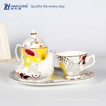cheap custom porcelain japanese tea set with tray teapot cup / tea party set at home / porcelain tea sets for tea party
