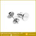 Prata 316L aço inoxidável preto banhado rodada disco brinco studs