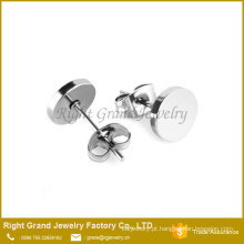 Pregos de aço inoxidável chapeado de prateado preto redondo disco brinco 316L
