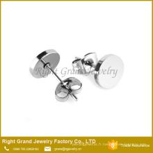 Clous d'oreille de disque rond plaqué noir argenté en acier inoxydable 316L