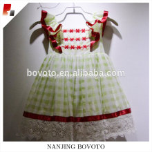 JannyBB flutter sleeve big bowknot checked dress