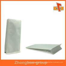 Impreso Papel Kraft Blanco Stand up Metalizado VMPET / Al Foil Bolsa Bolsa Gusset lateral