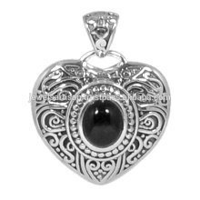 Designer Black Onyx Gemstone 925 Sterling Silver Heart Shape Pendant Jewelry