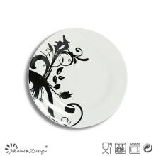 Porcelana blanca popular con placa de ensalada de etiqueta completa