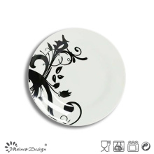 Porcelaine blanche populaire avec la pleine plaque de salade de décalque