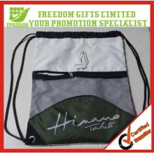 Promoção Personized Preço de Fábrica Logotipo Impresso Poliéster Malha Com Cordão Saco