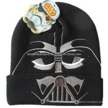 OEM Produce personalizado diseño bordado Ski Sports Hat acrílico Knit Negro Beanie Hat