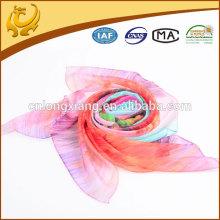 Super Thin Cool Pink Flower Echarpe en soie à imprimé numérique pour l'été