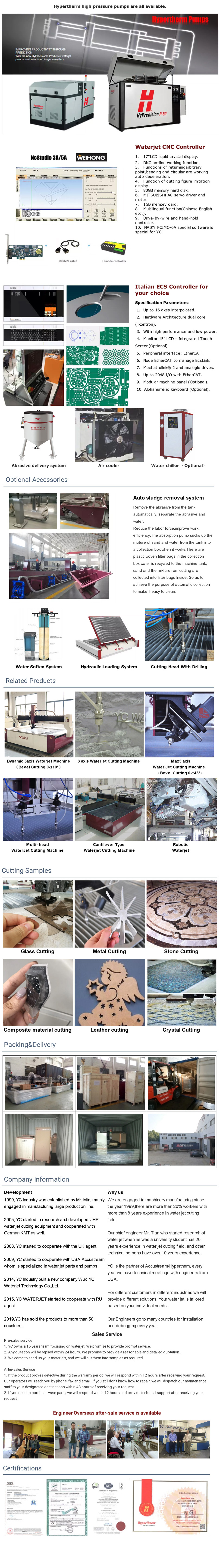 5 axis 3D waterjet cutting machine