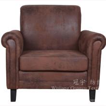 Tela de cuero de imitación de bronce poliéster gamuza para los sofás del hogar