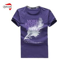 T-shirt liso feito sob encomenda do pescoço de Roud (Z019)