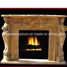 Natural Stone Marble Fireplace with Carved Figures and Flowers (SY-MF165)