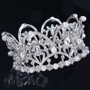 Atacado Crystal Beauty Full Round Princess Crowns