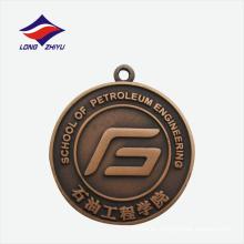 Medalla de metal de encargo de la escuela de la redondez del cobre amarillo de la fundición antigua