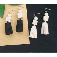 Women Simple Korea Velvet Fabric Tassel Earring With Beads