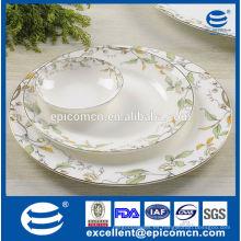 Elegante casa nueva hueso china platos con ensalada tazón