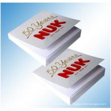 Notas adhesivas blancas puras con tapa dura impresa. Embalaje de la caja del PVC