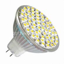 12 Volt MR16 48 3528 SMD 2700k 6000k lâmpada LED com tampa