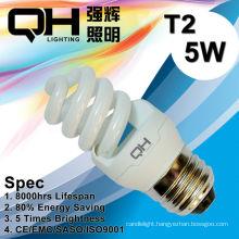 T2/T3 CE Arroved 8000hrs 5W Full Spiral Energy Saving Lamp 220V/127V