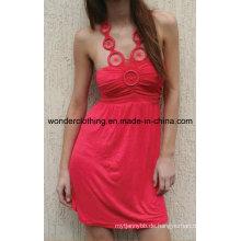 Kleid mit Gathering auf Büste und Trim entlang Ausschnitt Mode Sexy Frauen Kleid