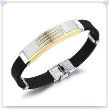 Pulseira de borracha pulseira de silicone do aço inoxidável (LB229)
