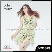 Mode Fringe Handknit Tank maillot de bain / robe pour les femmes