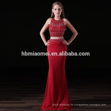 Venta caliente color rojo 2 unids set sirena vestido de noche de cuentas pesadas chica sexy vestido de dama de honor de color rojo al por mayor