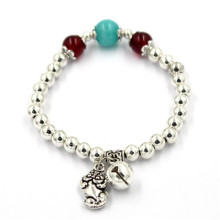 6cm Flexible Silver Bracelets with Flower Beads and Bell