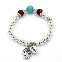 6 см Гибкие серебряные браслеты с цветочными бусами и колокольчиком