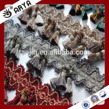 Estoque de mercadorias artesanais de três borlas de franja e borla para decoração de cortinas e outros produtos têxteis domésticos