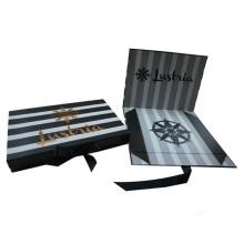 Caja plegable de rayas con cierre de tapa de cinta