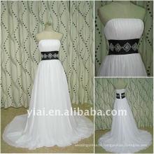 JJ2650 Free Shipping A-line Newestblack and white Beaded Chiffon Bridal wedding dress