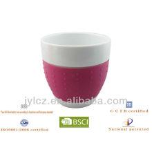 Juego de 300 cc de taza de regalo de cerámica con forma de vientre y banda de silicona