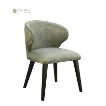 Chaise de salle à manger en bois massif avec coussin en cuir