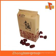 Flexo de impresión a prueba de humedad sello de calor lado gusset kraft bolsa de papel para las fechas rojas