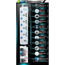 Прекрасные электрические розетки и розетки с защитой от перенапряжения с индивидуальными выключателями