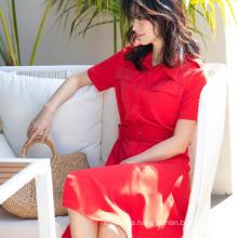 2020 women casual 100% polyester short sleeve shirt dress