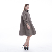 Beaver rabbit fur collar hand-sewn cashmere coat