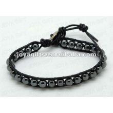 Bracelets d'enveloppement d'amitié avec perles en pierre de hématite