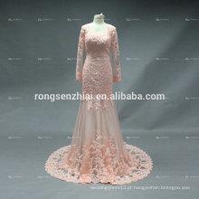 ED Bridal Prom Dress Mermaid Sexy Orange Lace Applique Lace com Beading