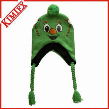 100% Acrylic Knitted Beanie Cap Hat with Earflap