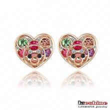 Brinco de cristal austríaco coração do parafuso prisioneiro vestido (er0001)