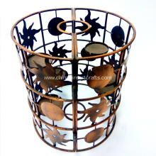 Metal Round Sun And Moon With Five Cups Candle Holder