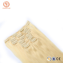 Double drawn wholesale factory supplied high quality remy human hair clip on hair extensions clip in hair