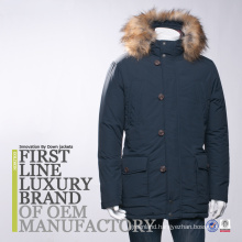 2016 Men Fashion Down Jacket Button In Front With Fake Fur On Hood