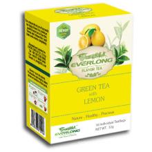 Limão aromatizado chá verde pirâmide chá saco superior mistura orgânica e compatível com a UE (ftb1502)