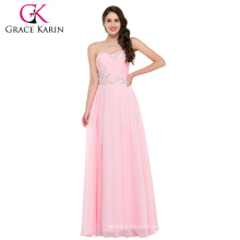 Grace Karin Strapless Sweetheart piso de longitud rosa largo gasa Bodas vestido de dama de honor patrones CL6107-2 #