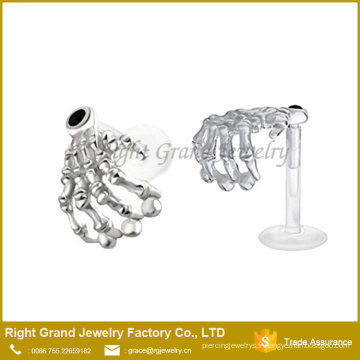 Squelette Main Cristal Flexible Bioplastique Labret Monroe lèvre tragus piercing bar bijoux de corps Anneau