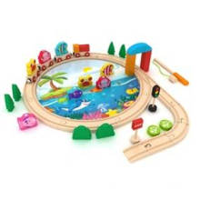 40PCS Fishing Wooden Train SetToy for Kids and Children